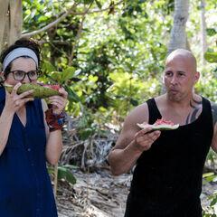 Aubry eating watermelon with <a href=