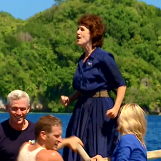 Wanda singing on the boat.