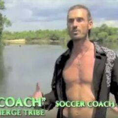 Coach making an confessional before the merged tribe is named.