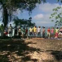 The sixteen castaways on <a href=