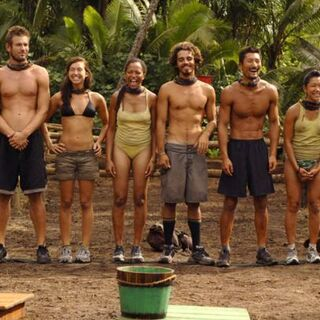 The castaways before the Reward Challenge.