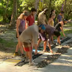 The contestants at the Immunity Challenge