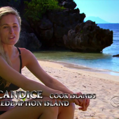 Candice doing a confessional at the Redemption Island.