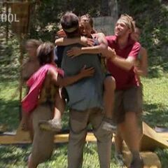 Nakúm celebrating winning the Reward Challenge and the right to win Individual Immunity.