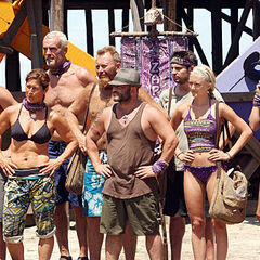 Russell with his tribe at the third challenge.