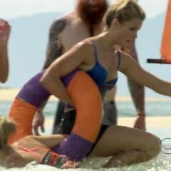 Andrea fights Hope for the ring during the first challenge.