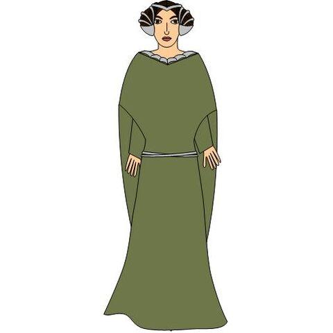 Green traveling attire