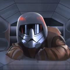 Ezra with an Imperial helmet