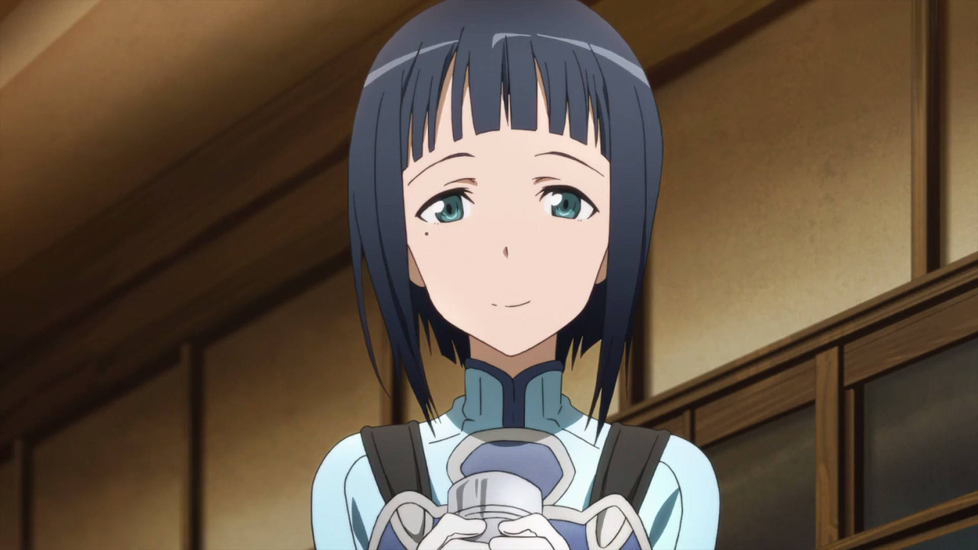 Anime girl with black hair and blue eyes with a sword