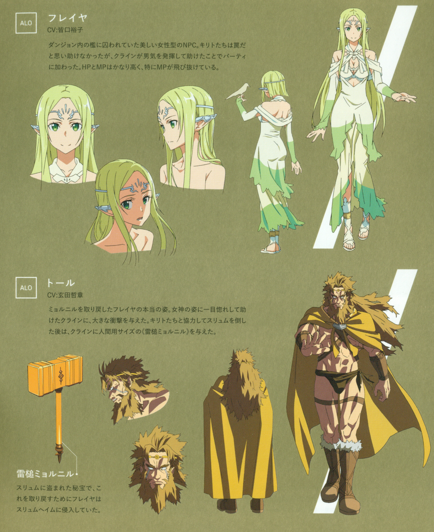 Image - Freyja and Thor character design (booklet).png | Sword Art ...