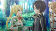 Leafa meets Kirito and Asuna