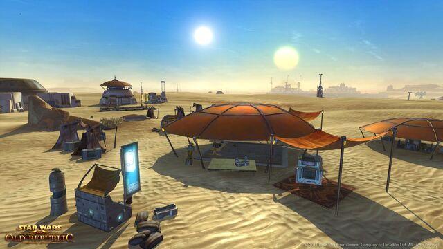File:Traveling trader camps dot the barren landscapes of Tatooine.jpg