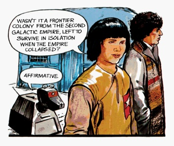 File:K9, Adric and the Doctor Plague World.jpg