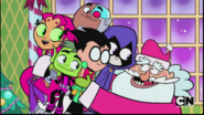 Santa hugging Titans