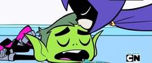 Raven Kisses Beast Boy on the Forehead