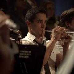 Danny plays his trumpet at Band Recital