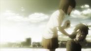 Young Yuriko giving food to Akari