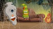 S01e09a Bashful explains who is Buckets as Grumpy got covered in spider web