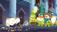 S2e20a bashful, doc, sneezy and sleepy looking at the mess