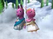 Austin and Uniqua in togas