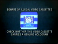 20th Century Fox Home Entertainment Illegal Video Cassettes (1997) Hologram