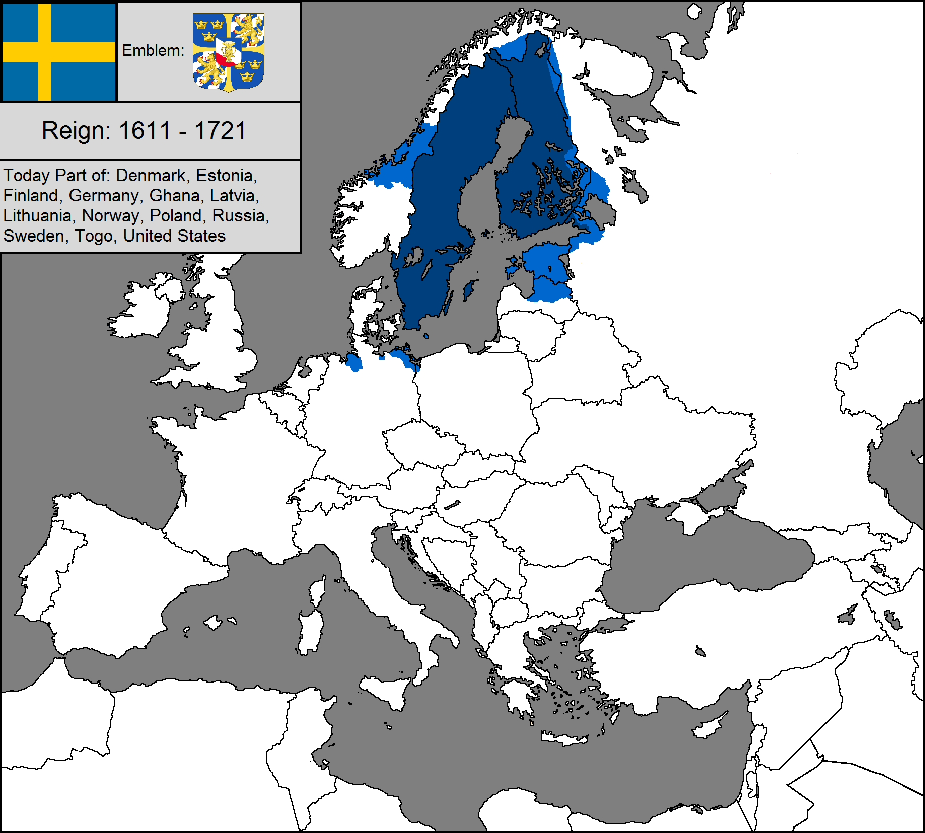 Image Blank Map Of The Swedish Empirepng TheFutureOfEuropes - Sweden map blank