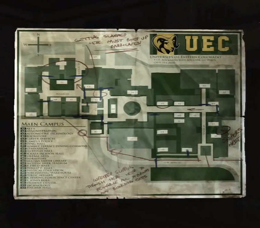 UEC Campus Map The Last Of Us Wiki FANDOM Powered By Wikia - The last of us multiplayer maps