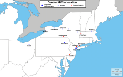 Dunder Mifflin branch map