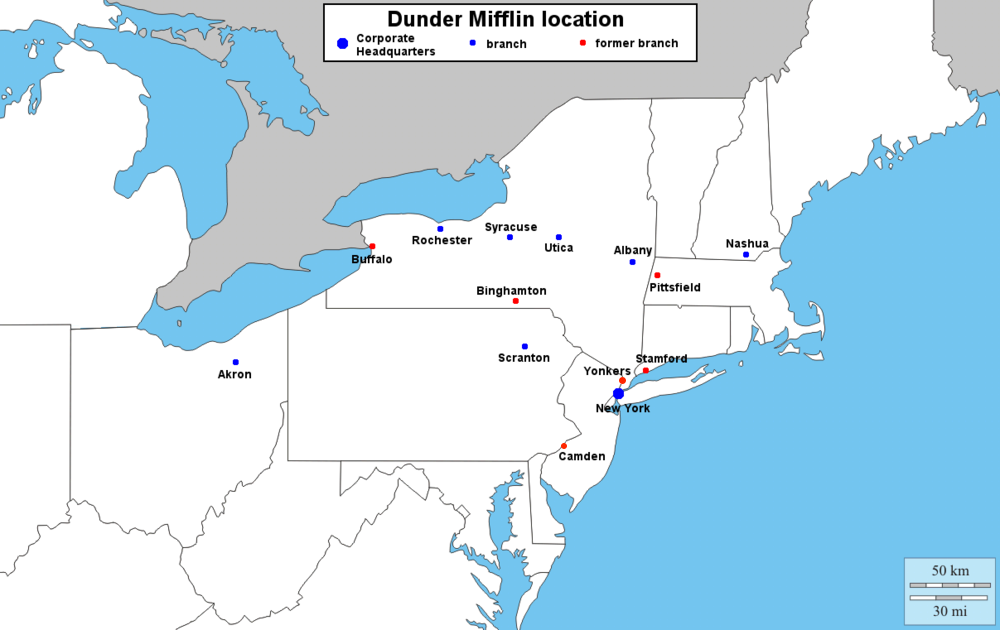 Image Dunder Mifflin Branch Mappng Dunderpedia The Office - New york map location
