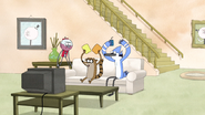 S4E20.016 Benson Walks in Mordecai and Rigby Watching TV
