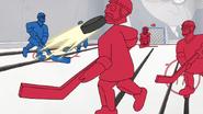 S7E02.075 Benson Knocking a Hockey Player Head Off