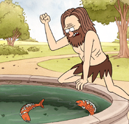 S4E17.172 Caveman Going to Attack the Fountain Fishes