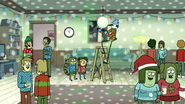S6E10.098 Mordecai Hanging the Mistletoe Disco Ball