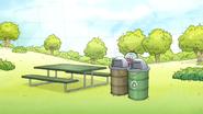 S7E05.139 Benson and Antares Hiding Behind Trash Cans