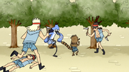S4E13.157 Mordecai and Rigby Fighting Two More Scythe Guards