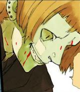 Shirazu covered in blood