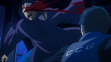 Amon strikes one of the Bin Brothers during the 11th Ward Battle
