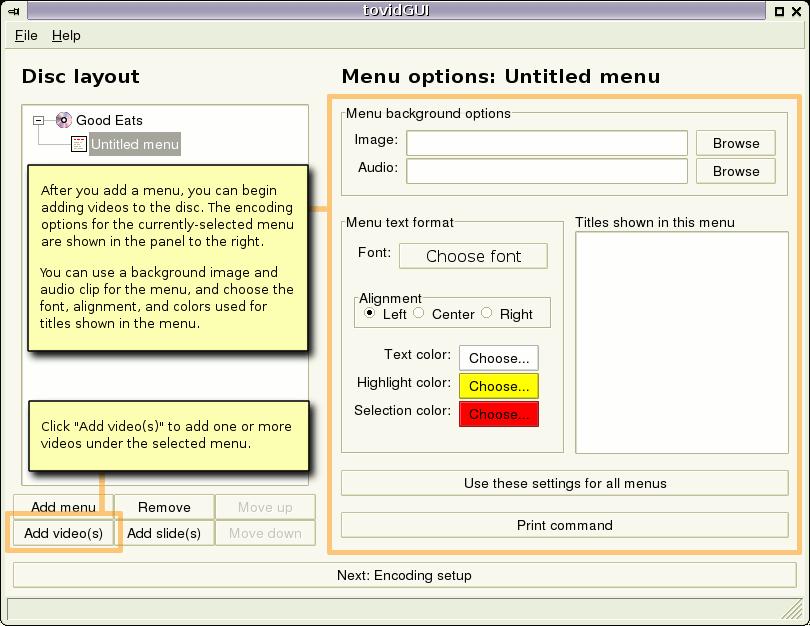 Gui menu options