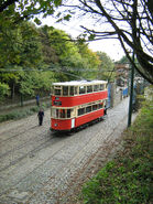 London tram leaving the depot