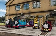 Thomas,Hiro,Charlie,KevinandVictorattheSodorSteamworks
