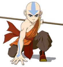 Aang kneeling in a battle pose, holding his staff behind him.