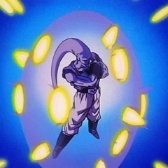 Vegeta's energy blasts hit Super Buu's forcefield.