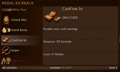 Cash'em In Menu Selection