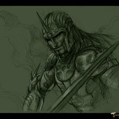 A drawing of a Death Dealer by Patrick Tatopoulos.