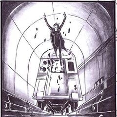 Concept art of Selene smashing through the window of a train in the subway station.