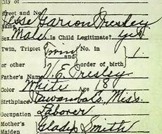 Jessie presley birth certificate
