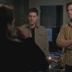Roché with Jensen Ackles and Jared Padalecki on Supernatural