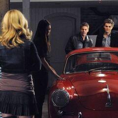 Stefan, Elena, Caroline and Matt in the garage.