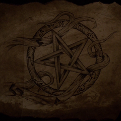 An inverted pentagram, part of the Hunter's mark