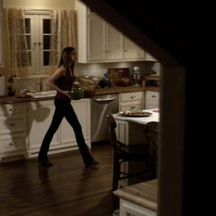 The window is now behind Elena, there's a sink under it. Notice the short kitchen counter to the right